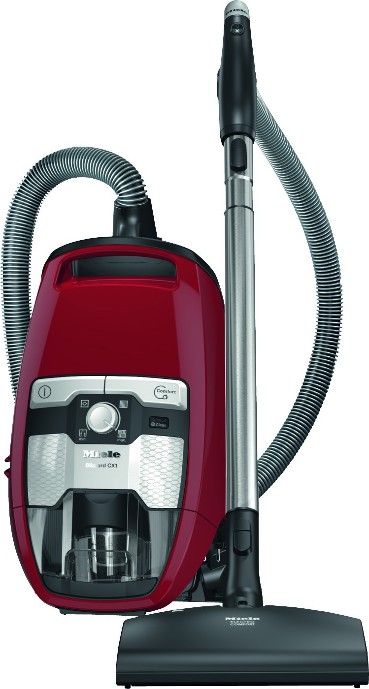 Miele Vacuum Cleaner in Red color showcased by Corbeil Electro Store