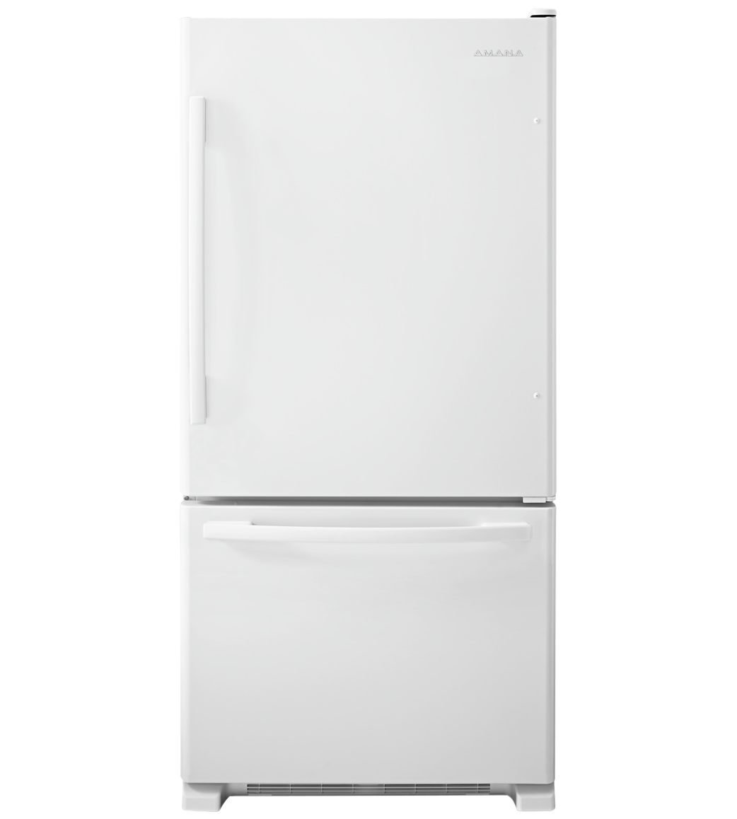 Amana Refrigerator 33 ABB2224BR in White color showcased by Corbeil Electro Store