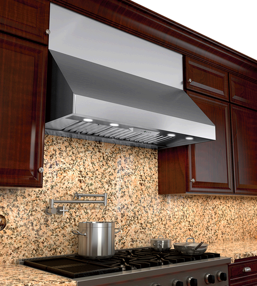 Zephyr Rangehood 36inch in Stainless Steel color showcased by Corbeil Electro Store