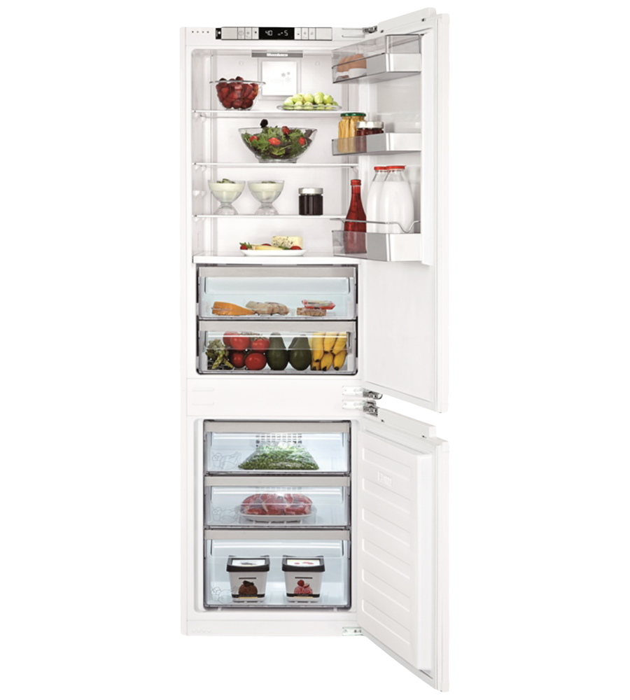 this quiet refrigerator offers three adjustable glass shelves for food storage