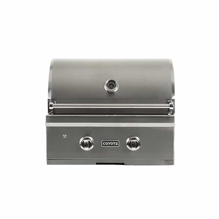 Coyote BBQ 28inch in Stainless Steel color showcased by Corbeil Electro Store