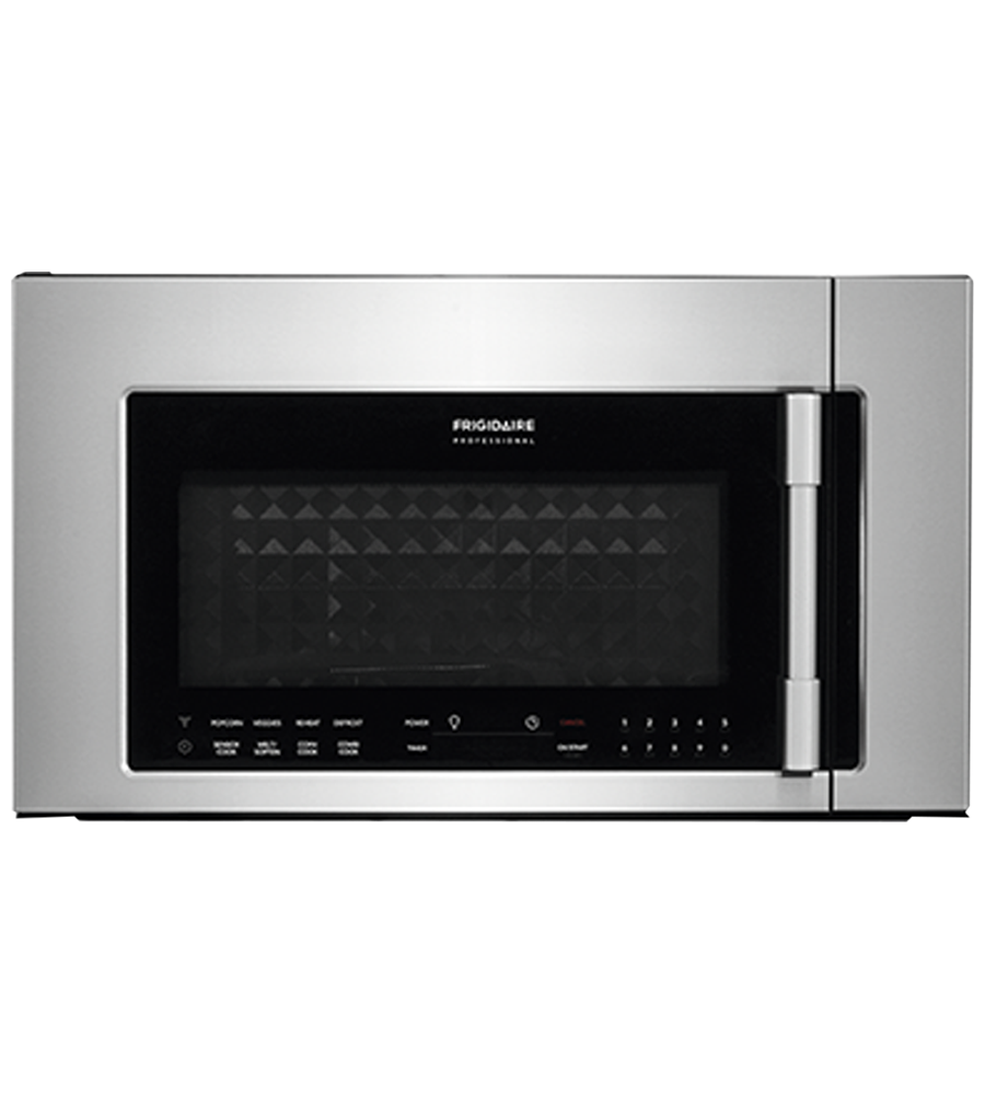 Frigidaire Professional Over-the-range microwave in Stainless Steel color showcased by Corbeil Electro Store