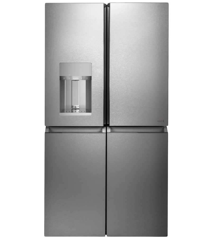 GE CAFE  4Door FrenchDoor Refrigerator in Platinum color showcased by Corbeil Electro Store