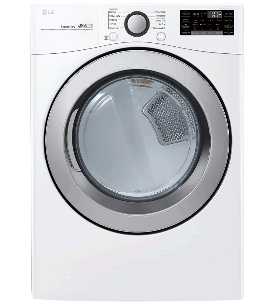 LG Dryer 27 White DLE3500W in White color showcased by Corbeil Electro Store