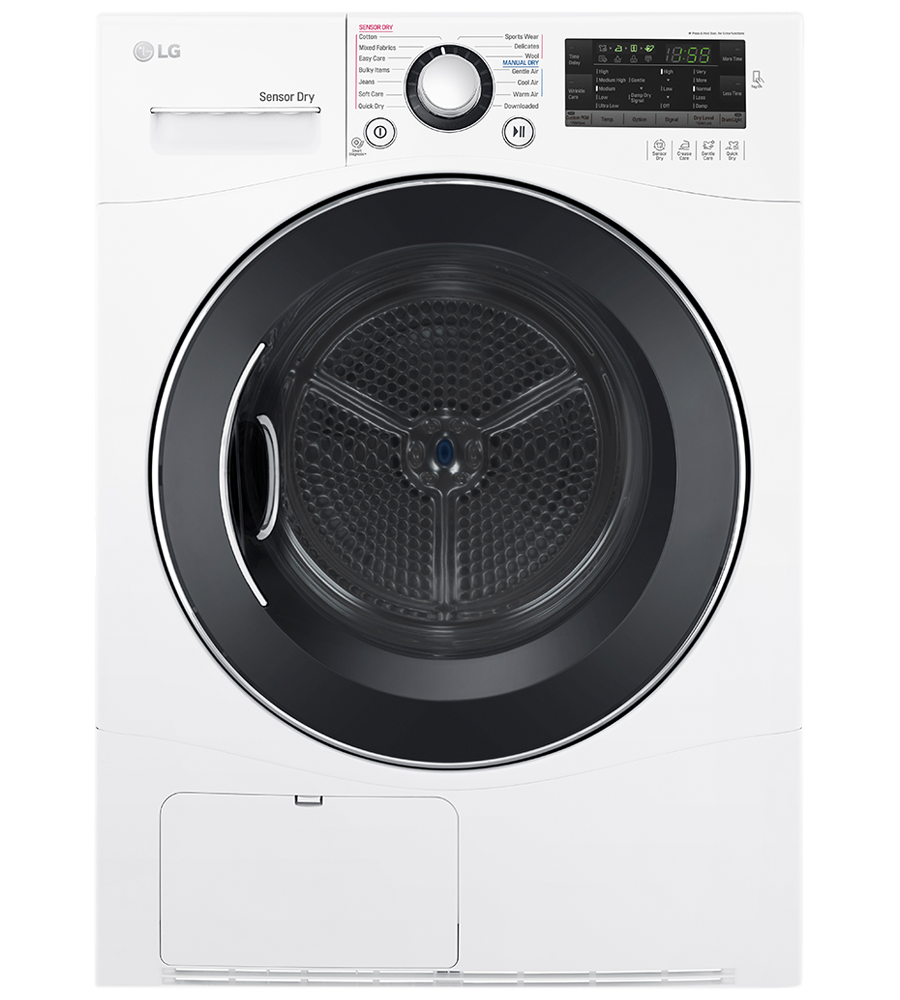 LG Dryer 24 White DLEC888W in White color showcased by Corbeil Electro Store