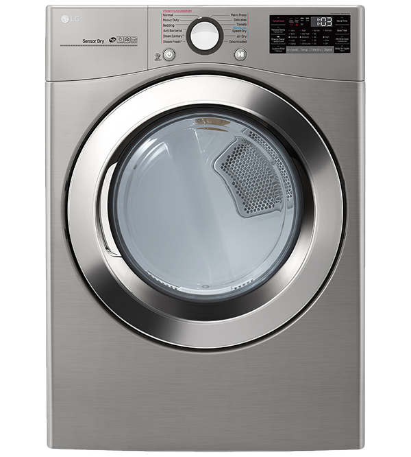 LG Dryer 27 White DLEX3700V in White color showcased by Corbeil Electro Store