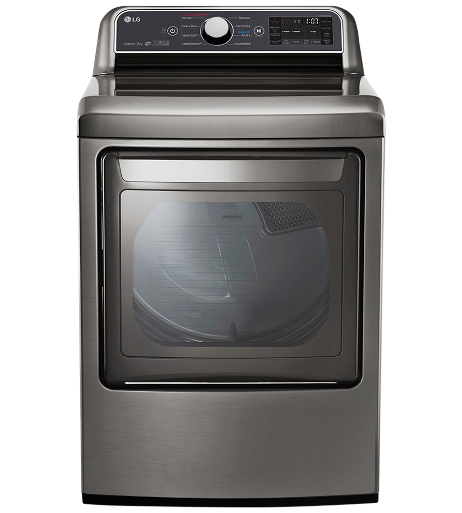 LG Dryer 27 Graphite Steel DLEX7300VE in Grey color showcased by Corbeil Electro Store
