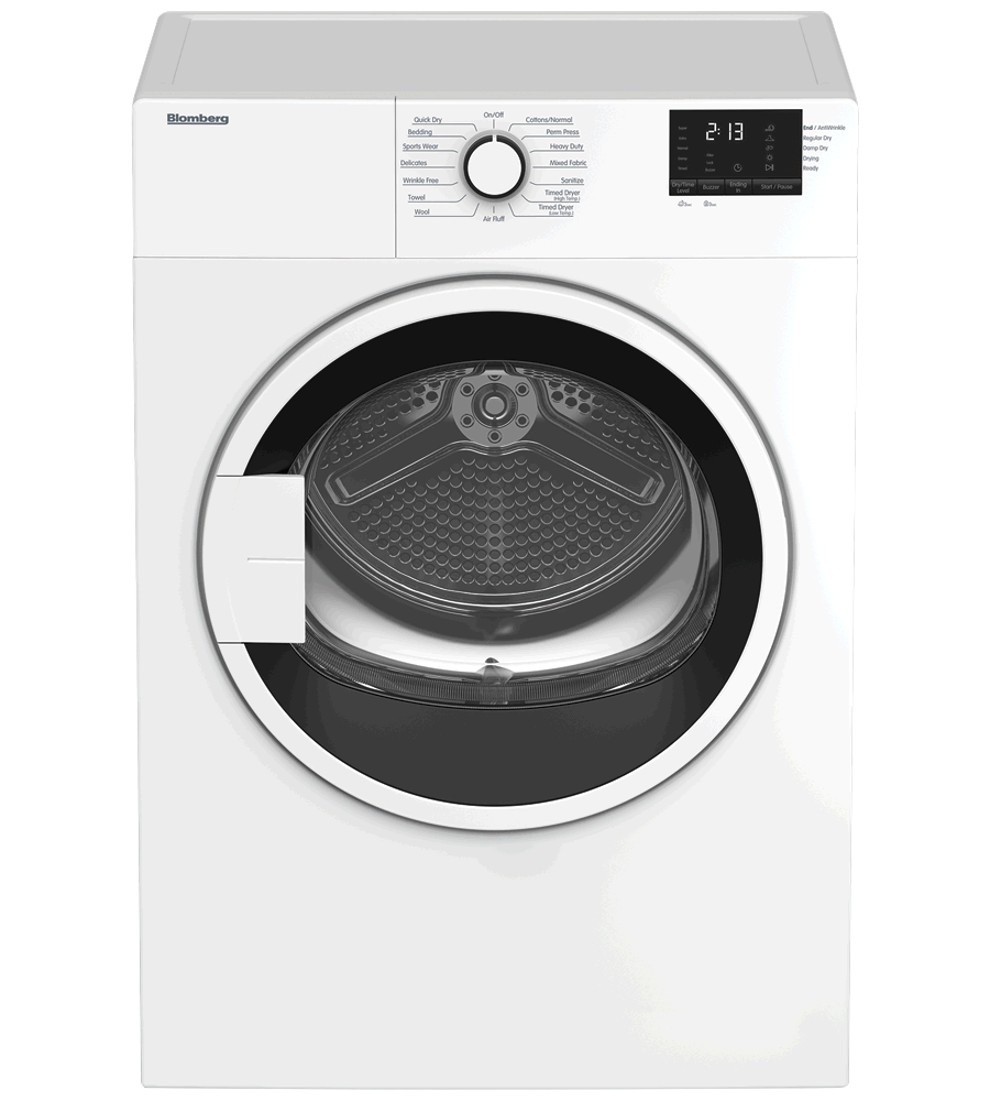 Blomberg Dryer White DV17600W in White color showcased by Corbeil Electro Store