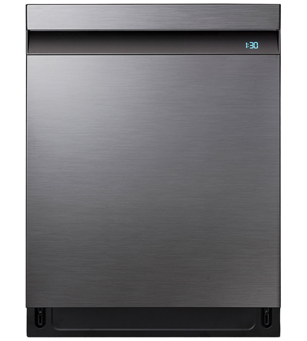 Samsung Dishwasher 24 DW80R9950U in Black Stainless Steel color showcased by Corbeil Electro Store