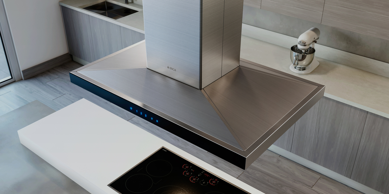 Elica Range hood 42 StainlessSteel ESL642S3 in Stainless Steel color showcased by Corbeil Electro Store