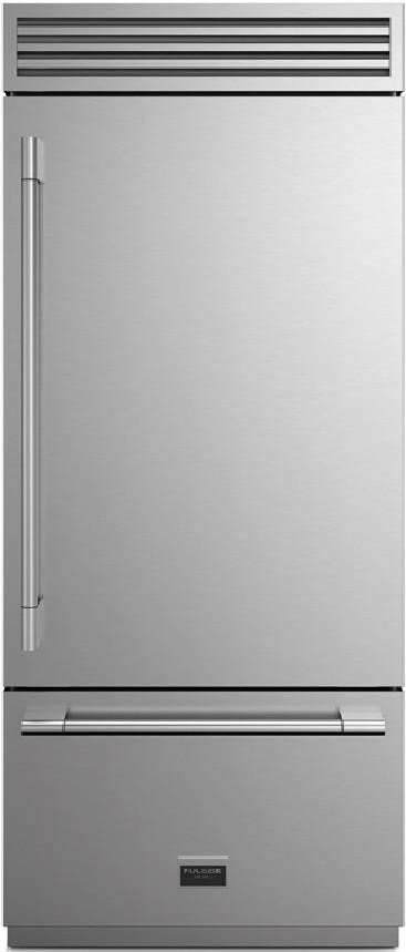 FULGOR Fridge 36inch in Stainless Steel color showcased by Corbeil Electro Store