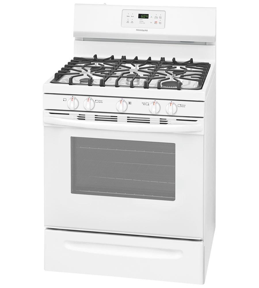 Frigidaire Range 30 FFGF3054T in White color showcased by Corbeil Electro Store