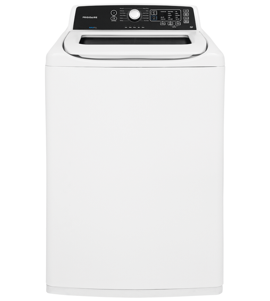 Frigidaire Stacked Laundry in White color showcased by Corbeil Electro Store