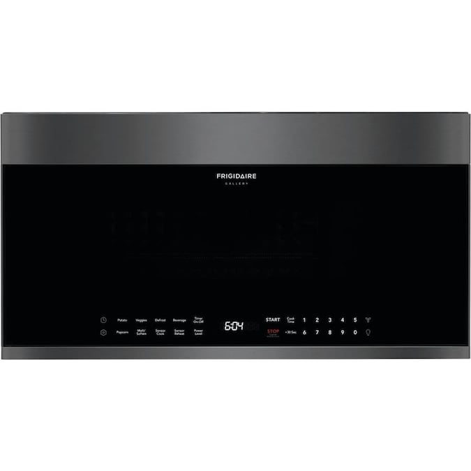 Frigidaire Gallery Microwave FGBM19WNVD in Black Stainless Steel color showcased by Corbeil Electro Store