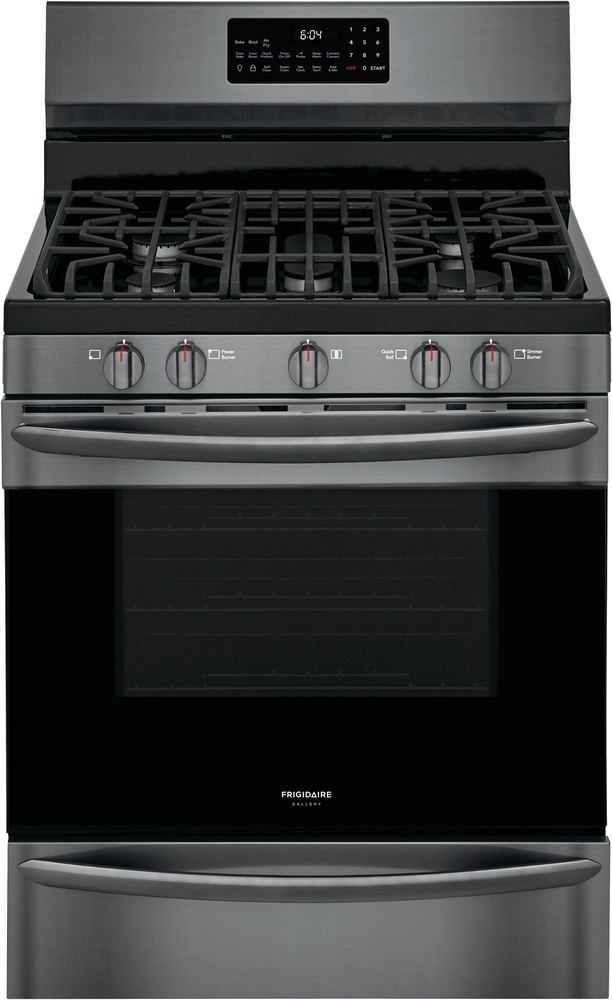 Frigidaire Gallery Range in Black Stainless Steel color showcased by Corbeil Electro Store