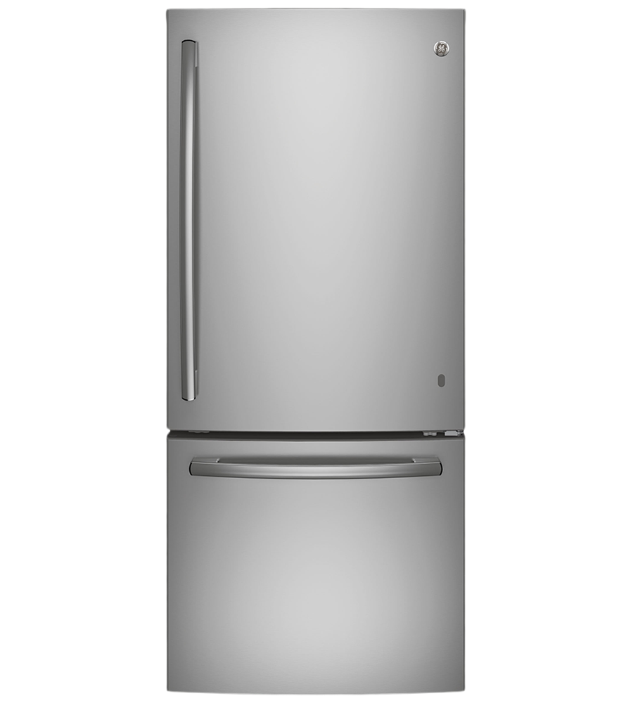 GE refrigerator in Stainless Steel color showcased by Corbeil Electro Store