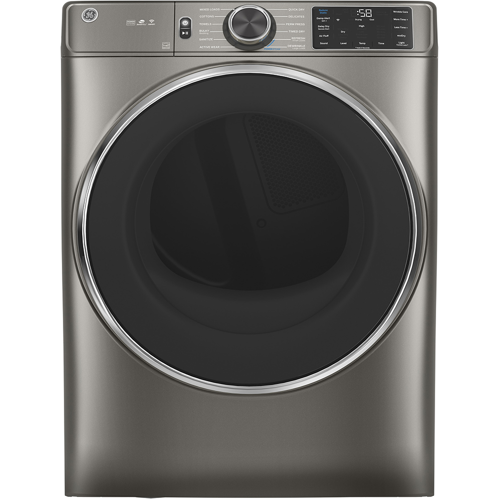 GE Dryer GFD65ESMNSN in Black Stainless Steel color showcased by Corbeil Electro Store