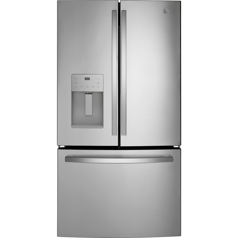 GE Fridge GFE26JYMFS in Stainless Steel color showcased by Corbeil Electro Store