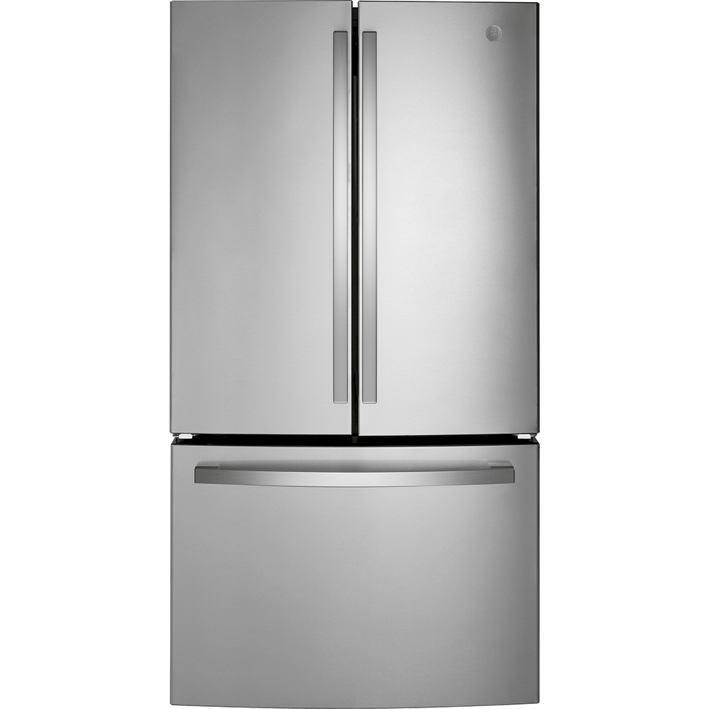 GE Fridge GNE27JYMFS in Stainless Steel color showcased by Corbeil Electro Store