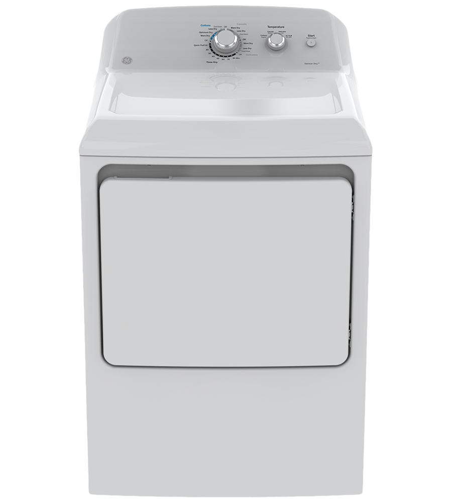 GE Dryer 27 White GTD40EBMKWW in White color showcased by Corbeil Electro Store