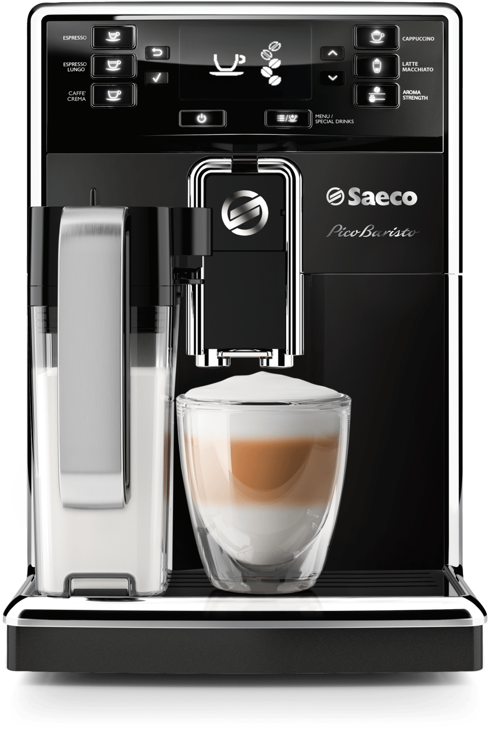 Saeco Cofee machine in Black Stainless Steel color showcased by Corbeil Electro Store