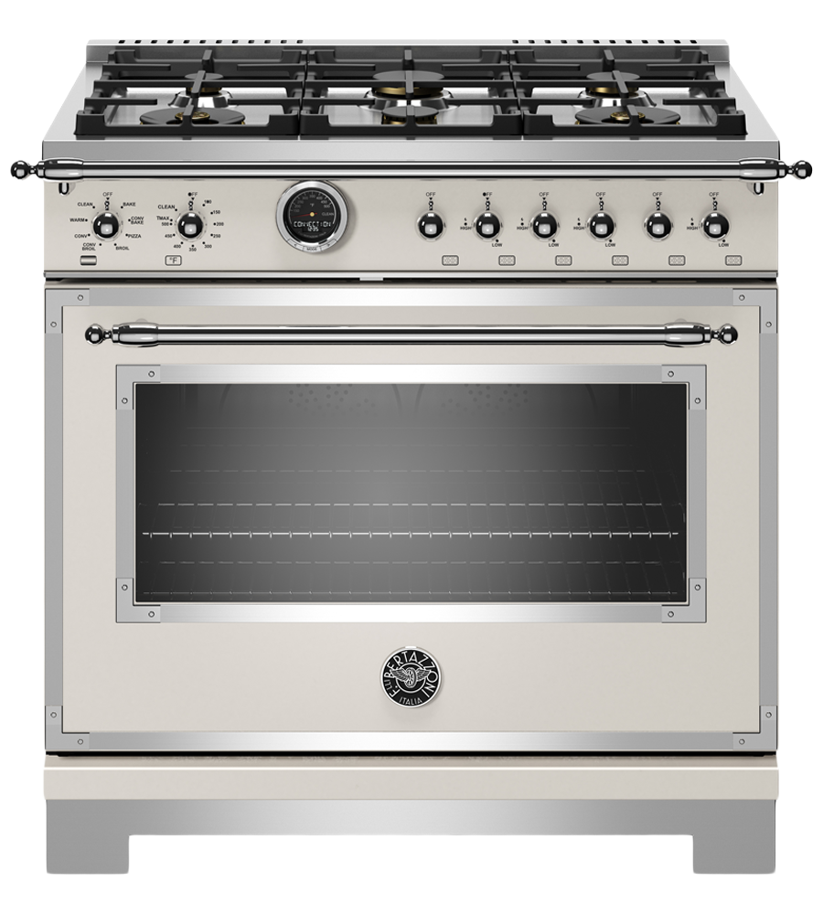 Bertazzoni Range 36inch in Ivory color showcased by Corbeil Electro Store