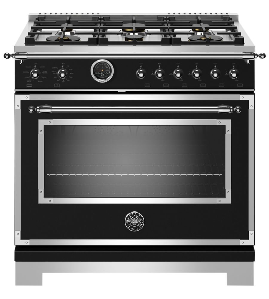 Bertazzoni Range 36inch in Black color showcased by Corbeil Electro Store