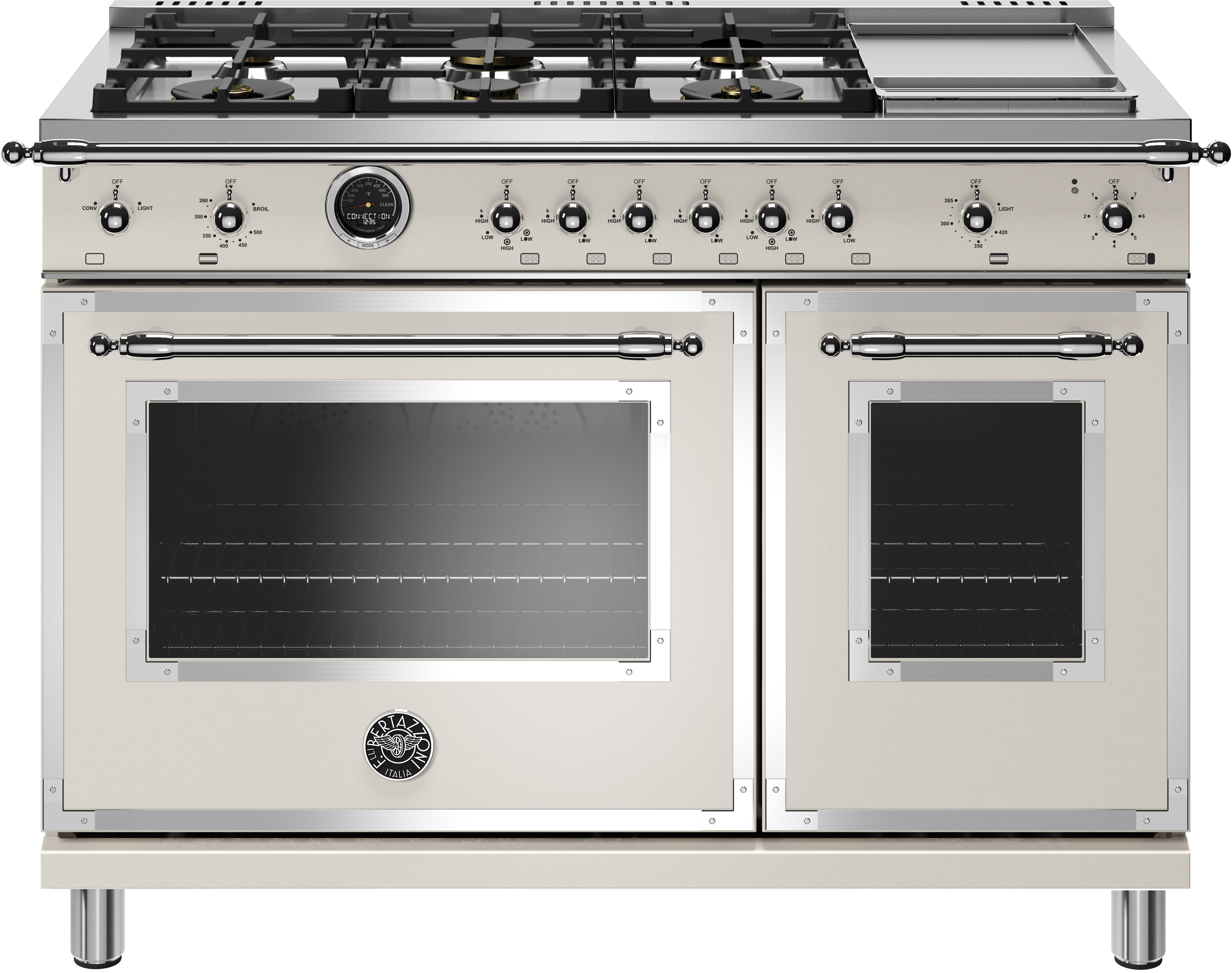 Bertazzoni Range 48inch in Ivory color showcased by Corbeil Electro Store