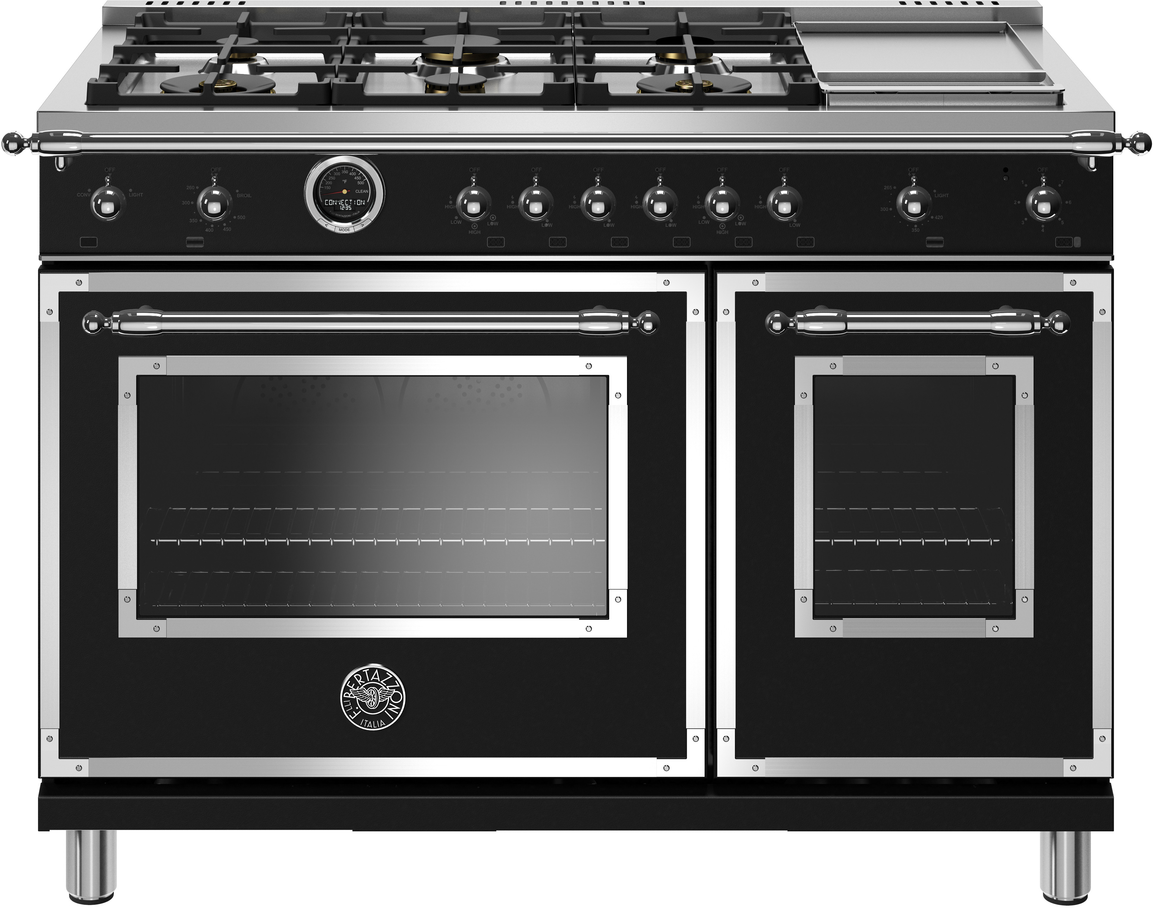 Bertazzoni Range 48inch in Black color showcased by Corbeil Electro Store