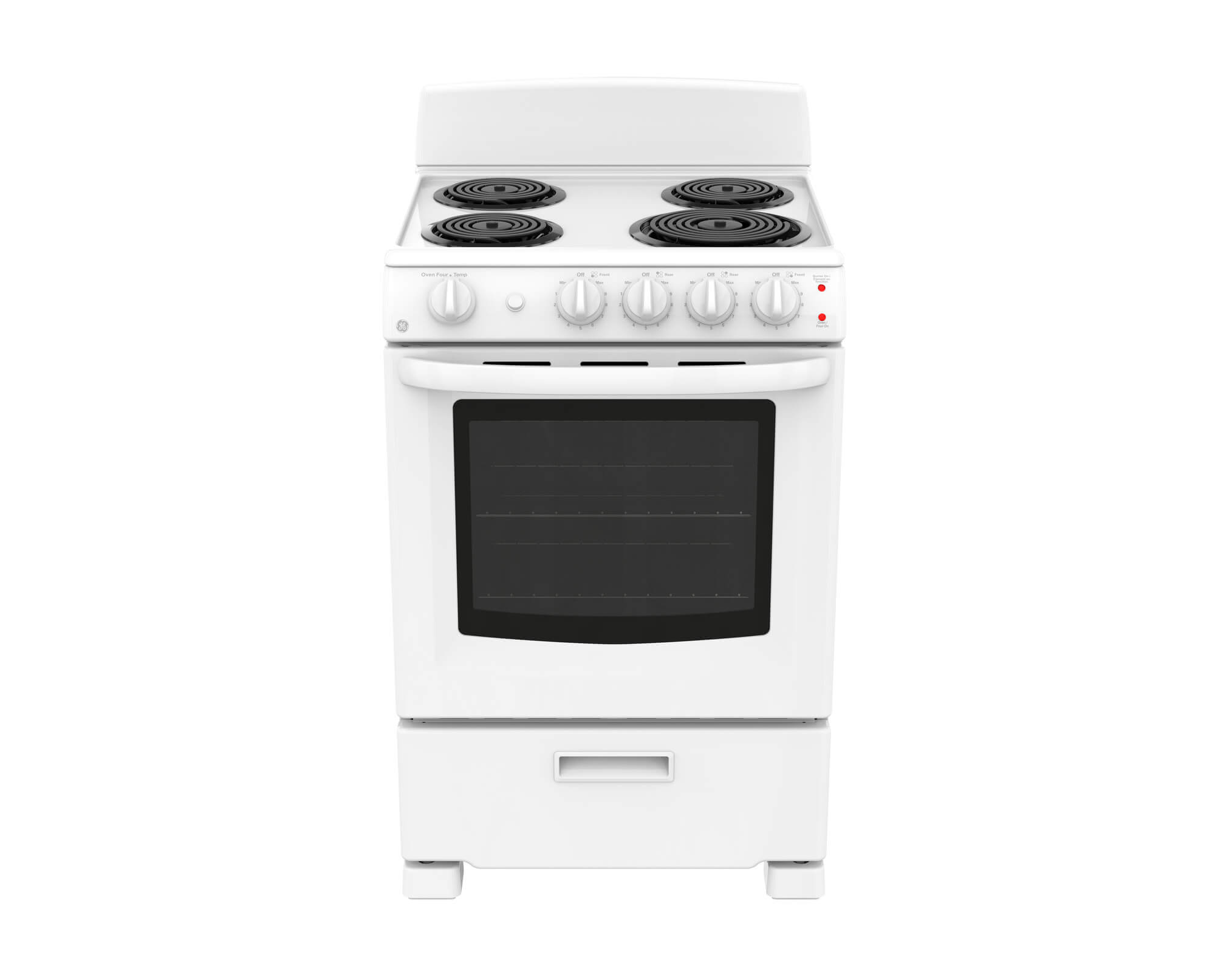 GE Range 24 White JCAS300DMWW in White color showcased by Corbeil Electro Store