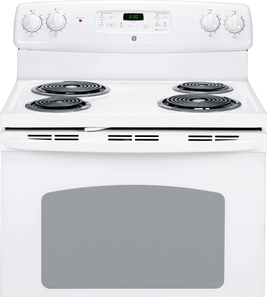 GE Range 30 White JCBP240DMWW in White color showcased by Corbeil Electro Store