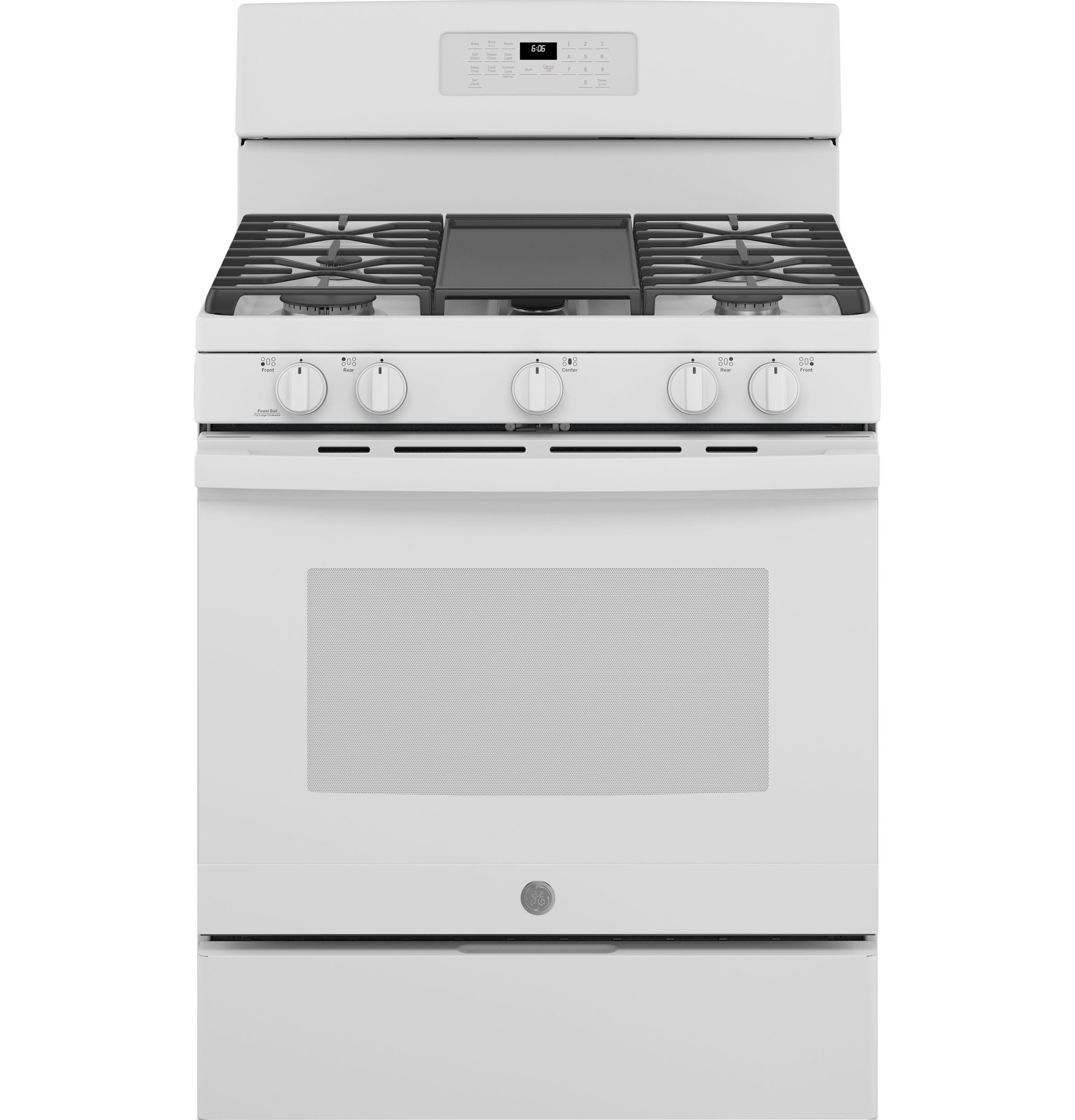 GE Range JCGB660DPWW in White color showcased by Corbeil Electro Store