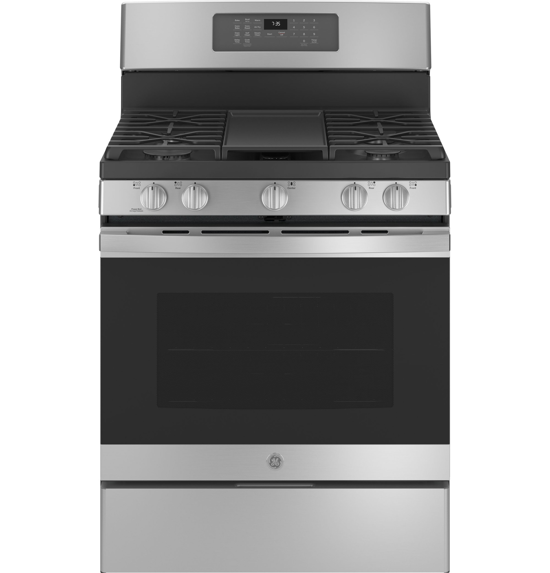GE Range JCGB735SPSS in Stainless Steel color showcased by Corbeil Electro Store