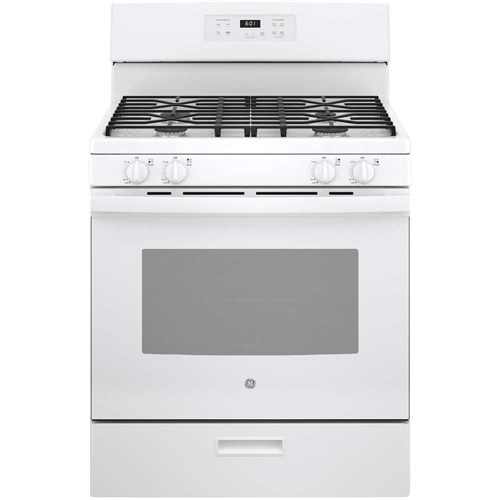 GE Range JCGBS61DPWW in White color showcased by Corbeil Electro Store