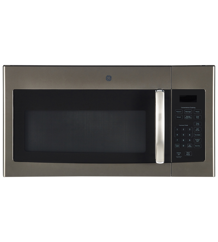 GE OTR Microwave in Slate color showcased by Corbeil Electro Store