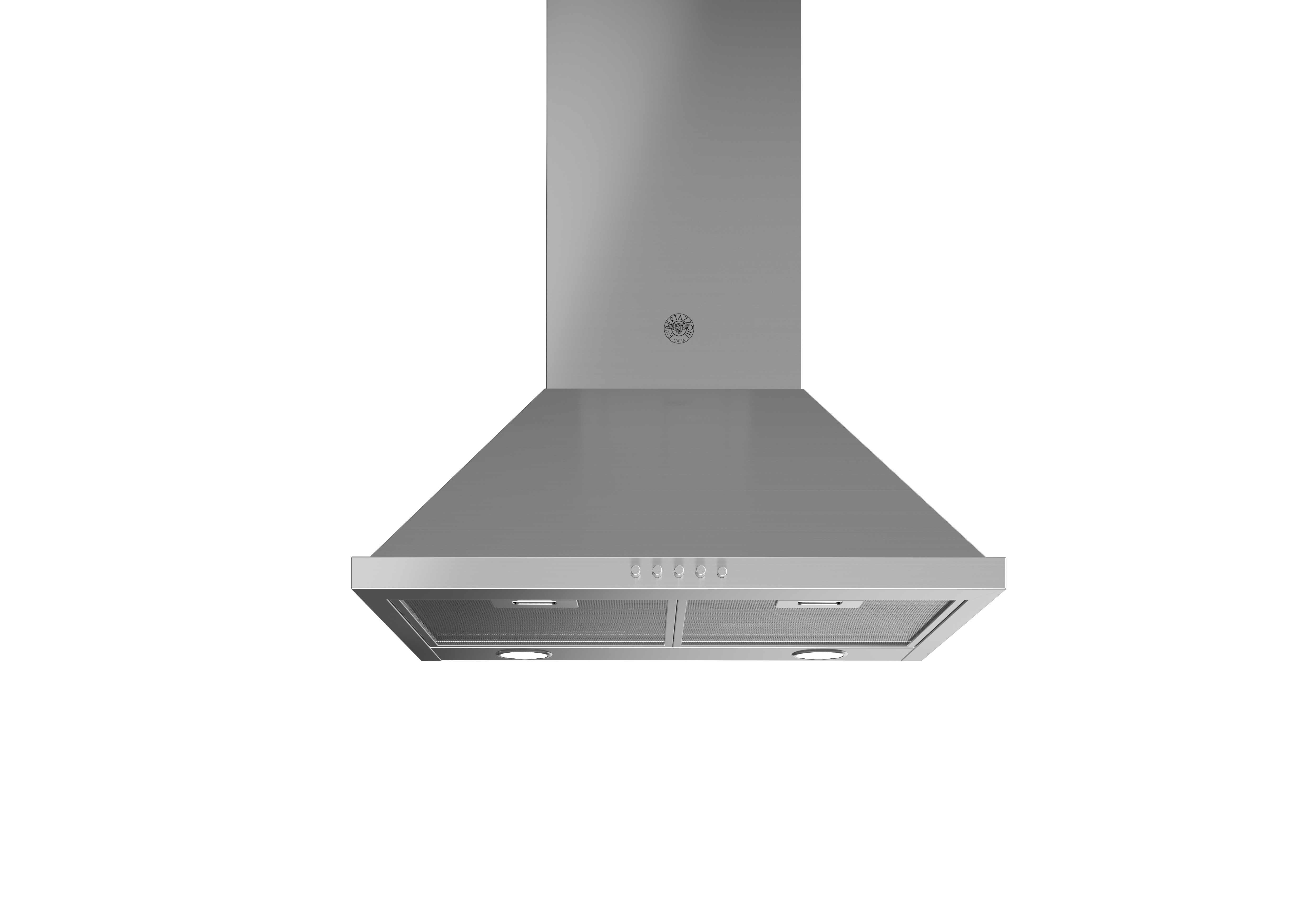 Bertazzoni Range hood KCH24XV in Stainless Steel color showcased by Corbeil Electro Store