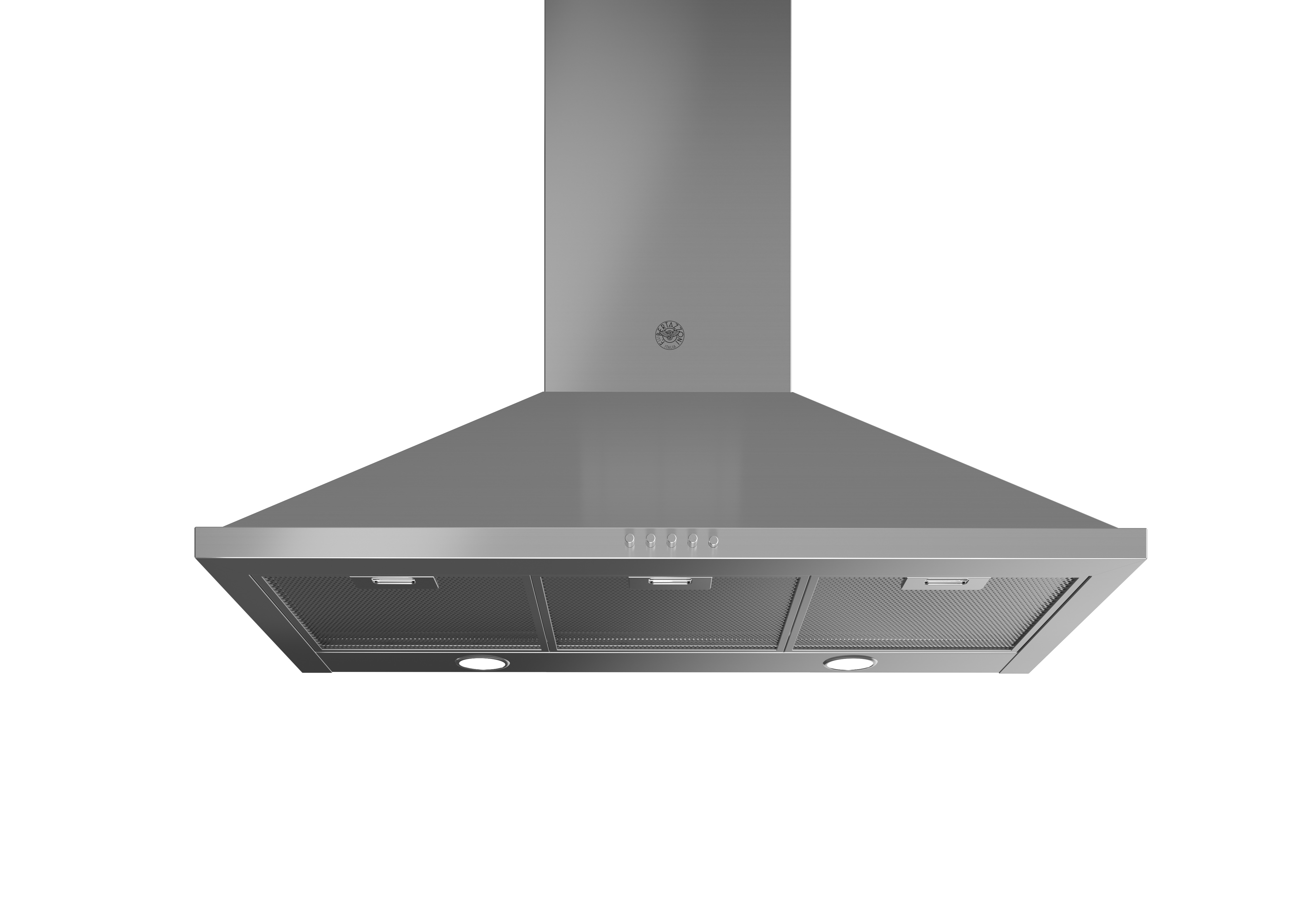 Bertazzoni Range hood KCH36XV in Stainless Steel color showcased by Corbeil Electro Store