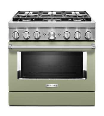 Cuisnière Kitchen Aid en couleur Emeraude (turquoise) présenté par Corbeil Electro Store