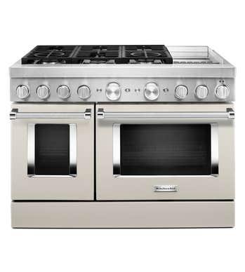 Cuisnière Kitchen Aid en couleur Blanc présenté par Corbeil Electro Store
