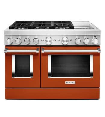 Cuisnière Kitchen Aid en couleur Orange présenté par Corbeil Electro Store