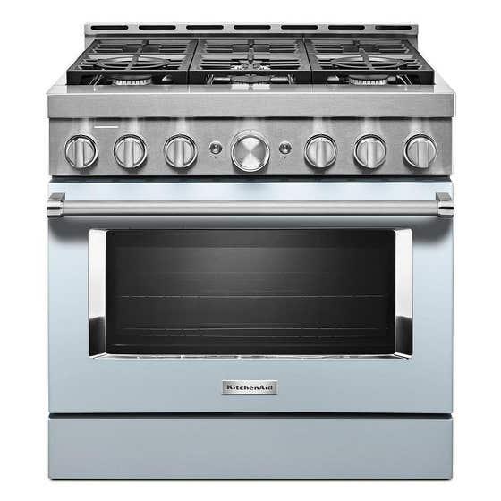 KitchenAid Range KFGC506JMB in Blue color showcased by Corbeil Electro Store