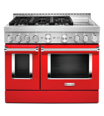 Cuisnière Kitchen Aid en couleur Rouge présenté par Corbeil Electro Store