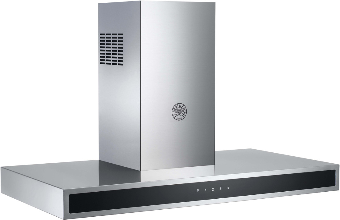 Bertazzoni Rangehood 48inch in Stainless Steel color showcased by Corbeil Electro Store