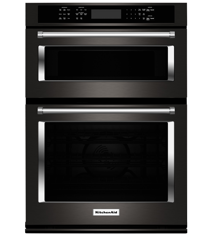 KitchenAid Combination Oven 30 KOCE500E in Black Stainless Steel color showcased by Corbeil Electro Store