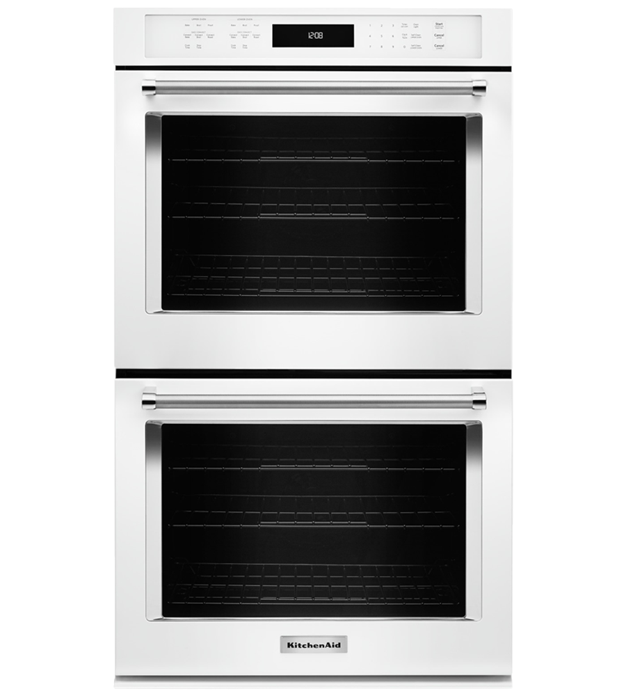 Kitchen Aid wall oven in White color showcased by Corbeil Electro Store