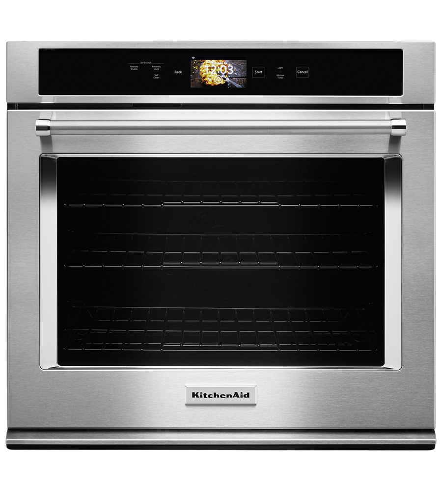 Kitchen Aid wall oven in Stainless Steel color showcased by Corbeil Electro Store