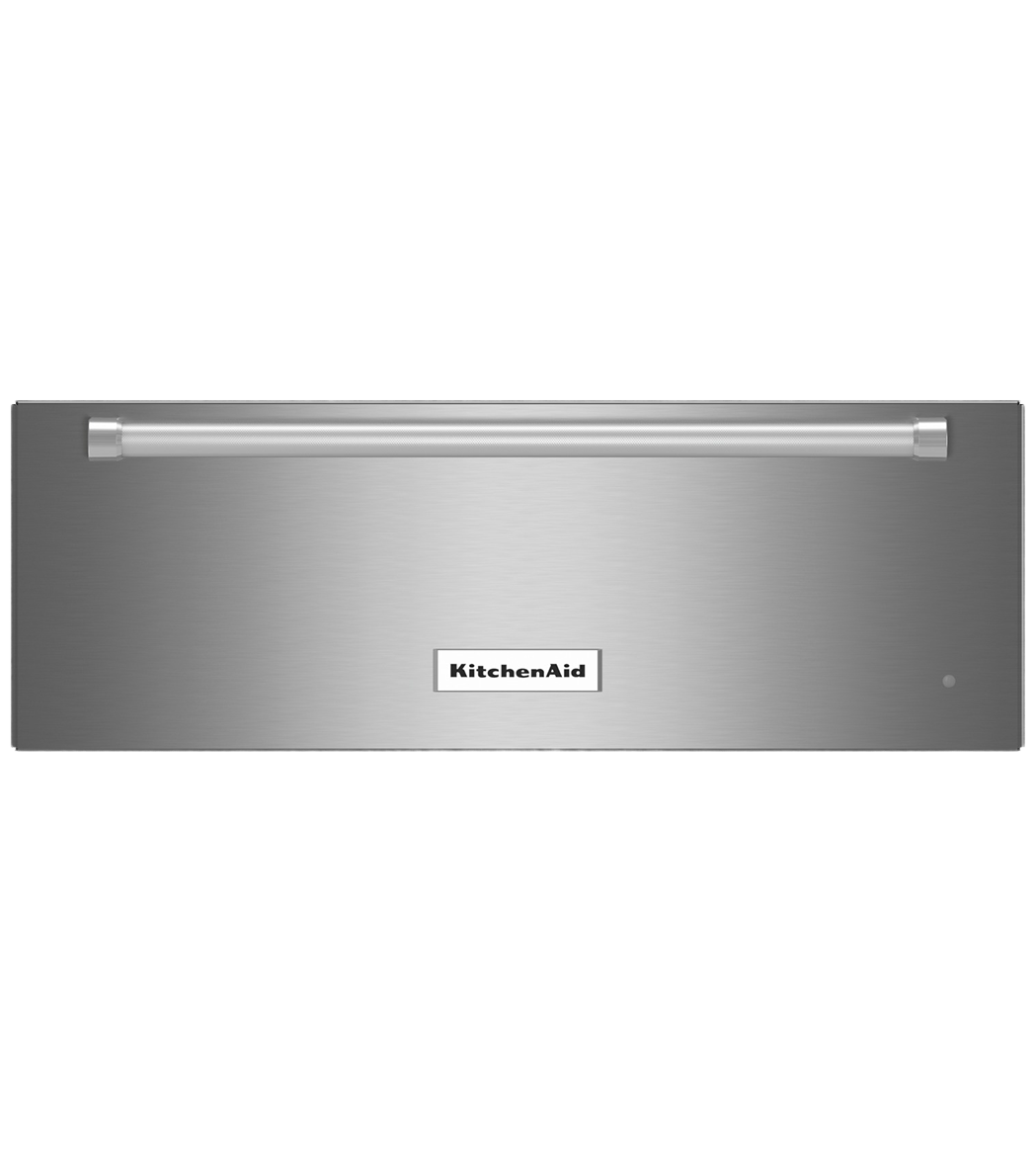 KitchenAid warming drawer in Stainless Steel color showcased by Corbeil Electro Store