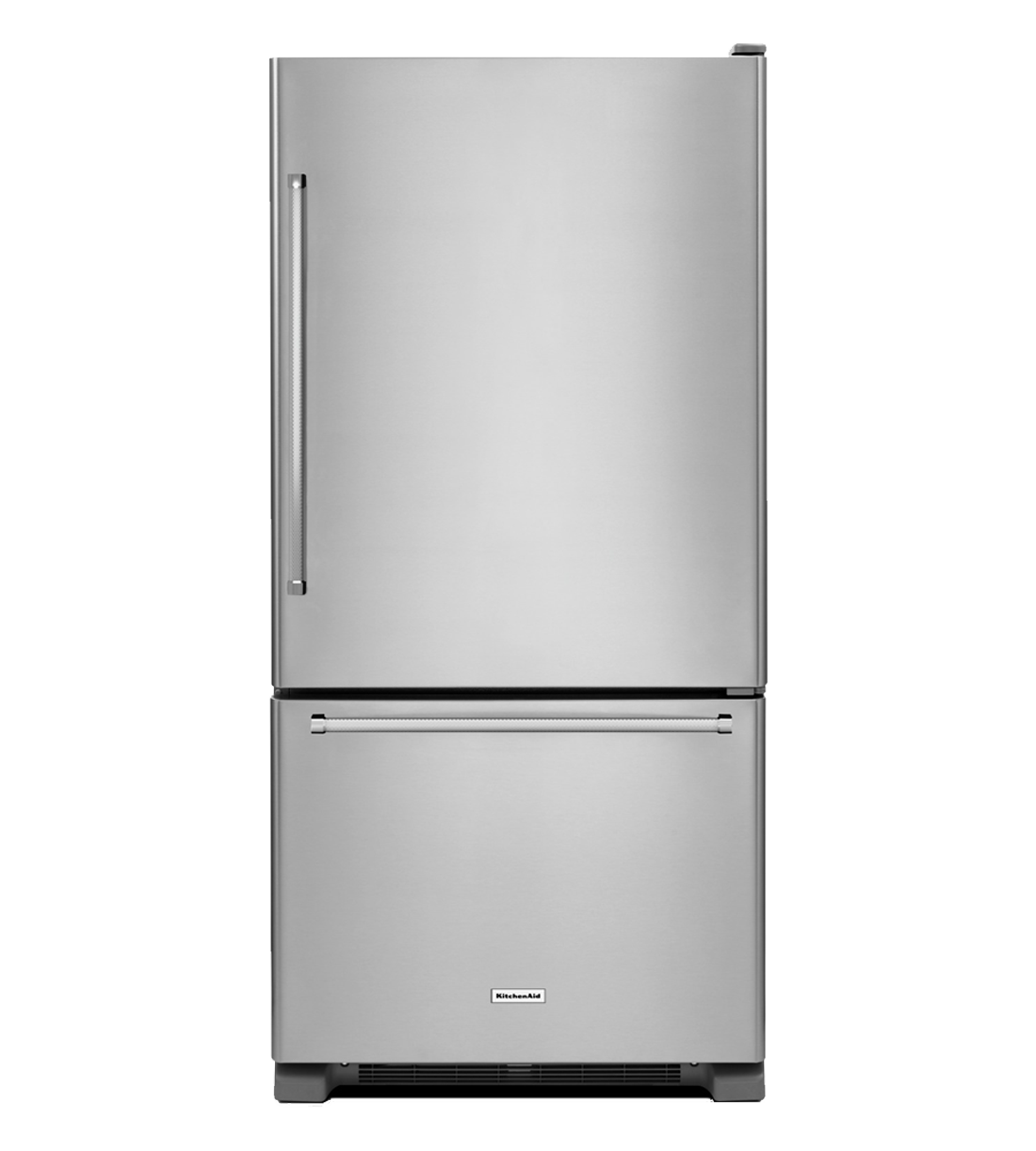 KitchenAid Refrigerator 33 StainlessSteel KRBR102ESS in Stainless Steel color showcased by Corbeil Electro Store