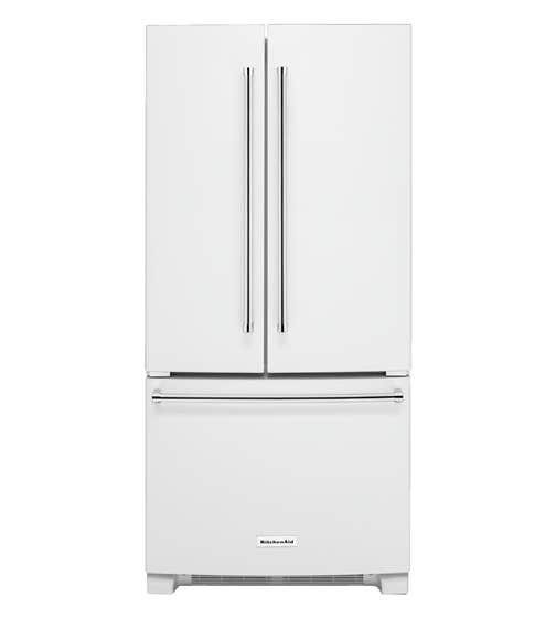 KitchenAid Refrigerator 33 KRFF302E in White color showcased by Corbeil Electro Store