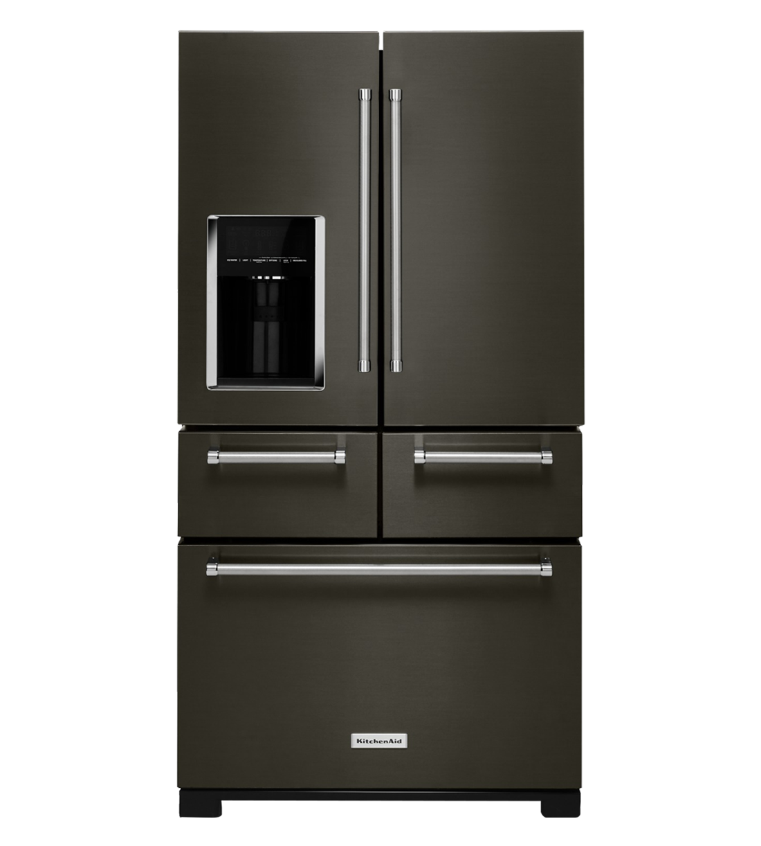 KitchenAid Refrigerator 36 KRMF706E in Black Stainless Steel color showcased by Corbeil Electro Store